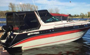 1986 Cruisers Inc Rogue 2860 for sale in the Trenton area east of Toronto by Ontario marine, boat and yacht brokers offering power boats and sailboats for sale in the Kingston, Whitby, Brighton, Cobourg, Trenton And Belleville Areas Of Ontario Canada.