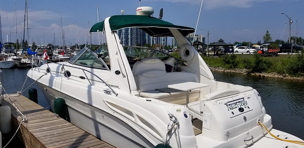 2001 Sea Ray 340 Sundancer for sale in the Whitby area east of Toronto, Ontario similar to the 2000, 2002, 2003, 2004 and 2005 models.